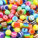 Beads, Acrylic, Assorted colours, Spherical, Diameter 8mm, NA, 10g, 34 Beads, (SLZ0230)